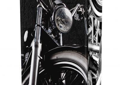 BLACK & CHROME MOTORCYCLE ASHES URN (LID-VIEW)