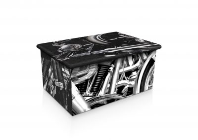 BLACK & CHROME MOTORCYCLE ASHES URN (SIDE-VIEW)